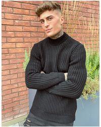 ASOS Heavyweight Fisherman Rib Turtle Neck Sweater - Black