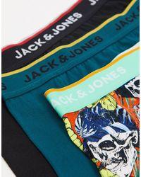 Jack & Jones - Набор Из 3 Боксеров-брифов С Принтом В Виде Цветов И Черепов, Зеленого И Черного Цвета -зеленый Цвет - Lyst