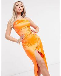 I Saw It First – Satin-Maxikleid aus Satin - Orange