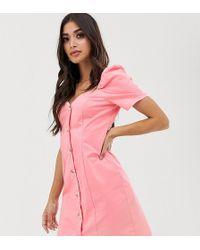 Missguided Exclusive Sweetheart Neck Mini Dress With Puff Sleeves In Pink