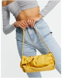 Glamorous Ruched Shoulder Bag With Chain Strap - Yellow