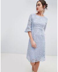 Sugarhill - Ellie Fluted Sleeve Lace Midi Dress - Lyst