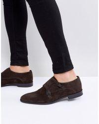 HUGO Dressapp Suede Monk Shoes In Brown