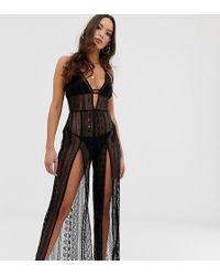 Miss Selfridge Split Skirt Dress In Black