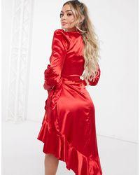 Club L London Satin Midi Wrap Dress - Red