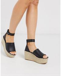 Free People Coastal Platform Wedge Espadrille Sandals - Black