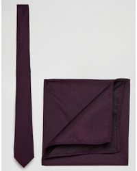 ASOS DESIGN - Burgundy Tie And Pocket Square Pack - Lyst
