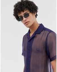 ASOS – Transparentes Hemd - Blau
