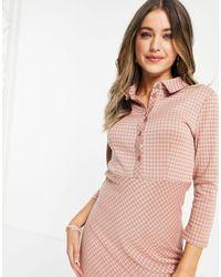 Pieces Vestito camicia lungo rosa a quadri pied