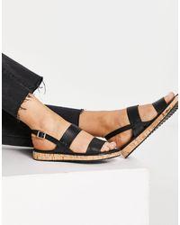 Office Sense Flat Sandals - Black