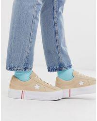 Converse One Star - Beige Sneakers Met Plateauzool - Naturel