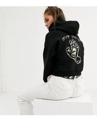 Santa Cruz Hando - Cropped Hoodie Met Print In Zwart En Groen, Exclusief Bij Asos - Bk1