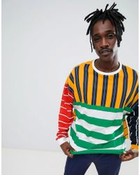 94185d74 ASOS - Oversized Long Sleeve T-shirt With Extreme Contrast Color Stripe -  Lyst
