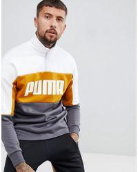PUMA - Retro Half Zip Sweat In Yellow 57637814 - Lyst