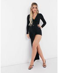 Club L London Черное Платье Макси С Перекрученным Элементом Спереди Club L-черный
