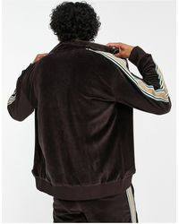 Jaded London Co-ord Velour Track Jacket With Taping Detail - Brown