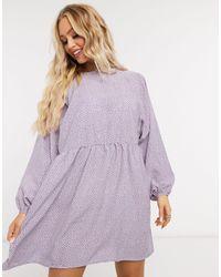 Daisy Street Mini Smock Dress - Purple