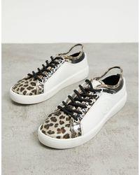 River Island Triangle Stud Leopard Print Trainers - White