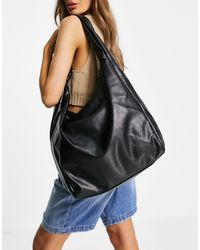 TOPSHOP Oversized Pu Knot Tote Bag - Black