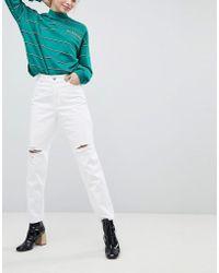 Monki - Taiki Distressed White High Waist Mom Jeans - Lyst