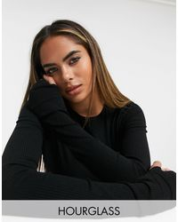 ASOS Hourglass Super Crop Top With Thumb Hole - Black