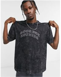 Good For Nothing T-shirt With Diamante Logo - Grey
