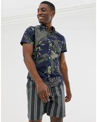 J.Crew Mercantile Short Sleeve Flex Washed Floral Print Shirt - Blue