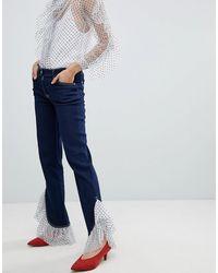 House of Holland Tulle Boyfriend Jeans Met Ruche Aan - Blauw