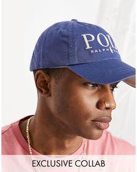 Polo Ralph Lauren Темно-синяя Кепка С Кремовым Текстовым Логотипом X Asos Exclusive Collab-темно-синий