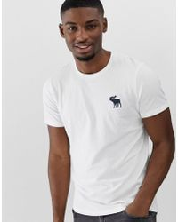 Abercrombie & Fitch Exploded Icon Logo Crew Neck T-shirt In White