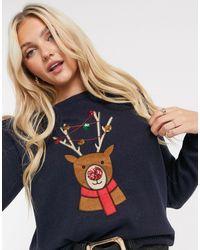 Brave Soul Maglione natalizio con renne - Blu