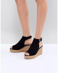 River Island | Open Toe Espadrille Wedge Shoe Boots | Lyst