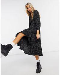 Whistles Bud Print Wrap Dress - Black