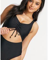 New Look - Черный Слитный Купальник С Вырезом И Присборенной Отделкой -черный Цвет - Lyst