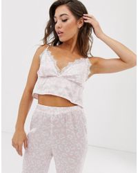 Missguided - Pyjama Set With Cami Barlet And joggers In Leopard - Lyst