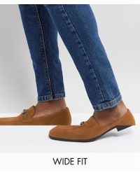 ASOS - Wide Fit Loafers In Tan Faux Suede With Snaffle Detail - Lyst