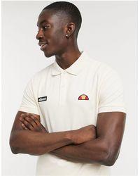 Ellesse Montura Logo Polo Shirt - Natural