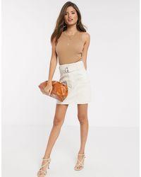 Stradivarius Mini Skirt With Belt - White