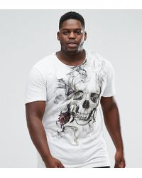 Religion - Plus Longline T-shirt With Smoke Skull Print - Lyst