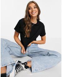 Miss Selfridge T-shirt à manches retroussées en coton biologique - Noir
