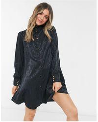 Pieces Черное Атласное Платье С Высоким Воротником И Короткой Расклешенной Юбкой -черный Цвет