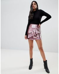 Glamorous Sequin Mini Skirt With Frill Detail - Pink