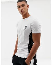 Jack & Jones Core T-shirt With Side Panel Print - White