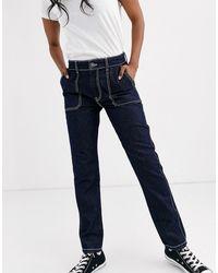 Pieces Jeans Met Rechte Pijpen En Contrasterende Stiksels - Blauw
