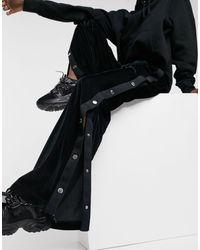 Love Moschino Черные Бархатные Джоггеры С Широкими Штанинами И Кнопками По Бокам От Комплекта -черный