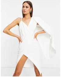 Lavish Alice One Shoulder Cape Midi Pencil Dress With Thigh Split - White