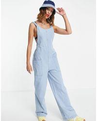 Noisy May Low Back Denim Jumpsuit - Blue