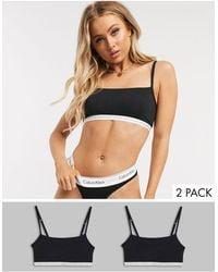 Calvin Klein Набор Из 2 Черных Хлопковых Бралеттов Без Подкладки Ck One-черный