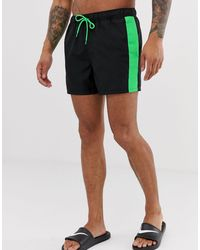 ASOS Swim Shorts With Contrast Neon Green Side Tape And Draw Cord - Black