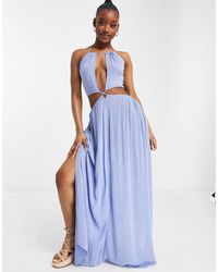 ASOS - Cross Waist Halter Maxi Beach Dress - Lyst